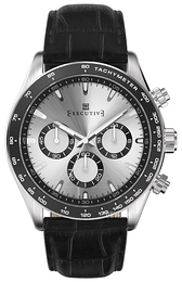 Executive Sølvfarvet/Læder Ø42 mm EX-1018-02