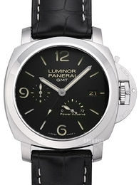 Panerai Contemporary Luminor 1950 3 Days GMT Power Reserve Automatic Sort/Læder Ø44 mm PAM 321