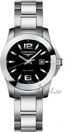 Longines Conquest Ladies Sort/Stål Ø29.5 mm L3.277.4.56.6
