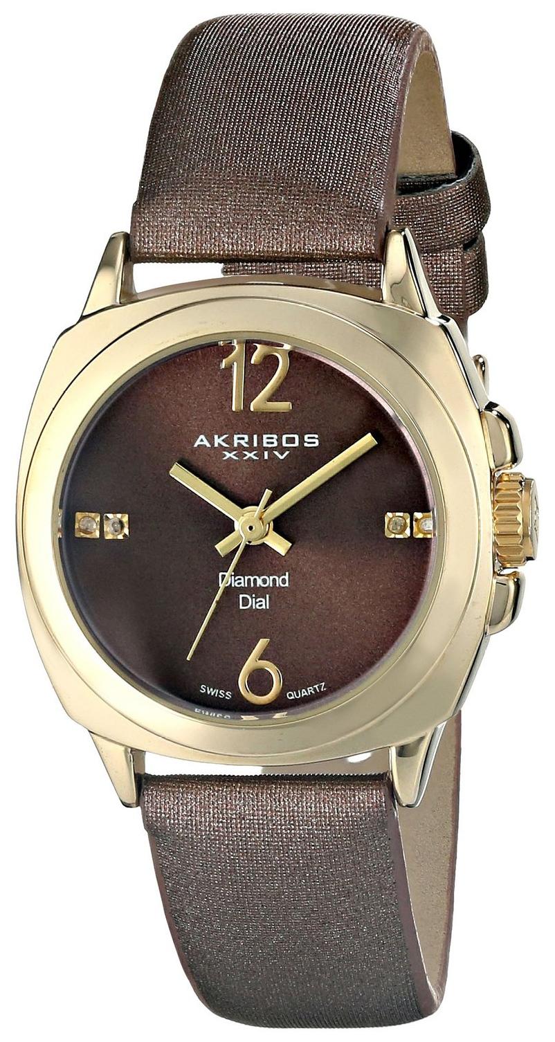 Akribos XXIV Diamond Dameur AK742YG Brun/Satin