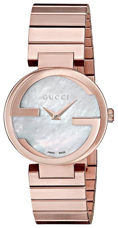 Gucci Interlocking Dameur YA133515 Hvid/Rosaguldtonet stål Ø29 mm