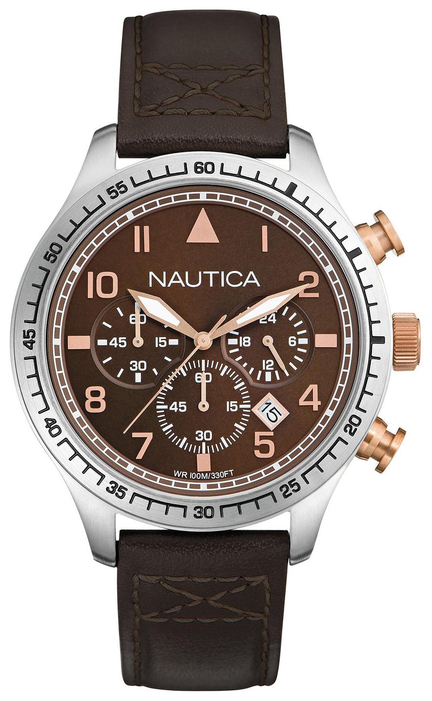 Nautica Chronograph Herreur A17655G Brun/Læder Ø44 mm