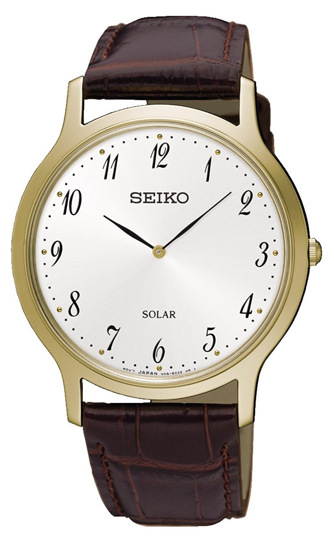 Seiko Solar Herreur SUP860P1 Hvid/Læder Ø37.8 mm